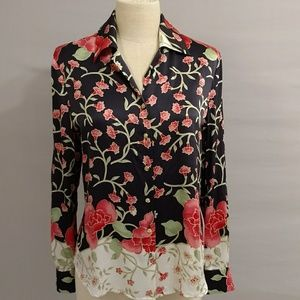 St John Silk Blouse Floral Print High Quality NotP